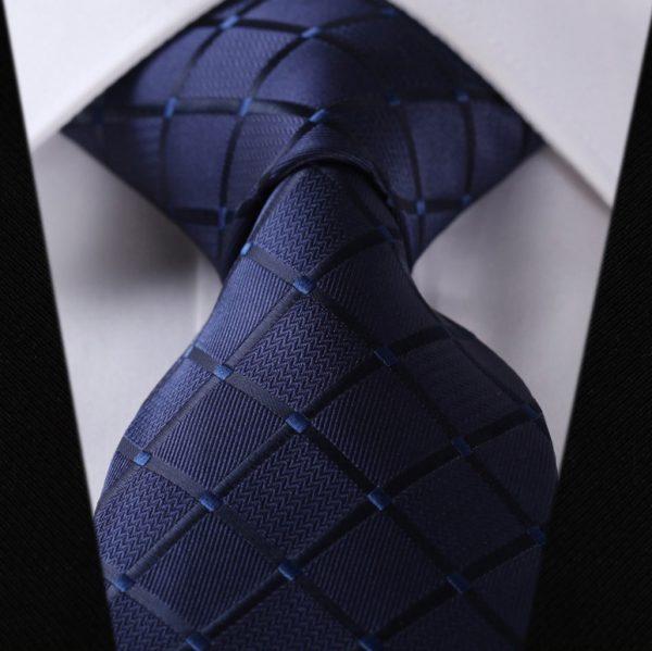 Luxusný pánsky kravatový set – kravata + vreckovka v tmavo modrom luxusnom prevedení