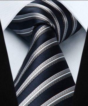 Luxusný pánsky kravatový set – kravata + vreckovka v tmavo modrom pásikavom prevedení