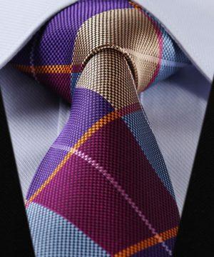 Luxusný pánsky kravatový set – kravata + vreckovka vo farebnom štvorcovom štýle