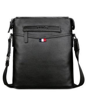Pánska elegantná kožená taška cez rameno v čiernej farbe