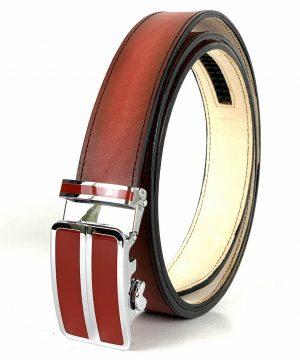 Červený kožený opasok s automatickým zapínaním RED_2 - LIMITED EDITION