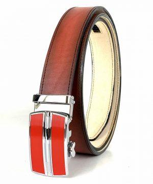 Červený kožený opasok s automatickým zapínaním RED_3 - LIMITED EDITION
