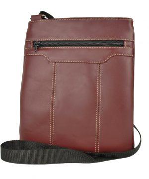 Crossbody kožená taška s dekoračným prešívaním v bordovej farbe