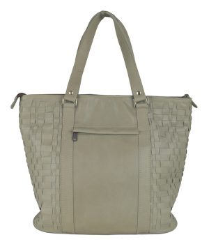 Luxusná pletená kožená kabelka č.8633 v šedej farbe