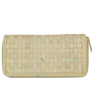 Ručne pletená kožená peňaženka č.8606 v bežovej farbe