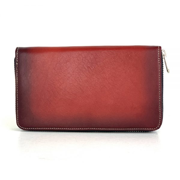 Dámska nákupná kožená peňaženka č.8606 ručne tieňovaná v bordovej farbe