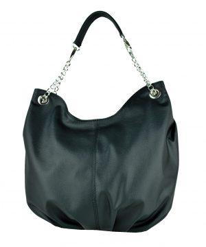 Dámska štýlová kožená kabelka v čiernej farbe..