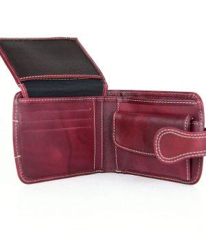 Elegantná kožená peňaženka č.8467 v bordovej farbe, ručne tamponovaná,