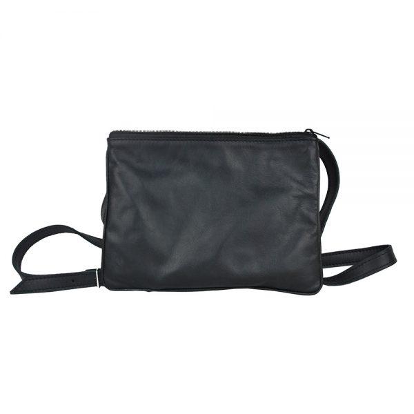 Exkluzívna kožená mini kabelka č.8628 v čiernej farbe