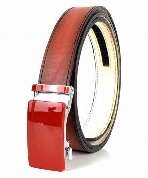 Červený kožený opasok s automatickým zapínaním RED_4 - LIMITED EDITION