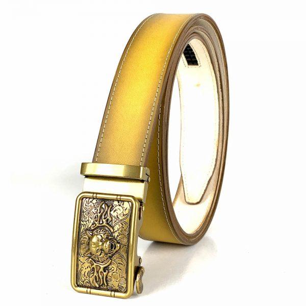Žltý kožený opasok s automatickým zapínaním GOLD TIGER