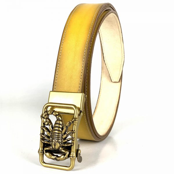 Žltý kožený opasok s automatickým zapínaním GOLD SCORPION