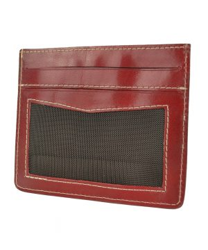 Jednoduché púzdro na karty z pravej kože v bordovej farbe.