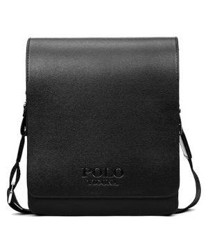Kožená biznis taška cez rameno POLO LARGE v čiernej farbe