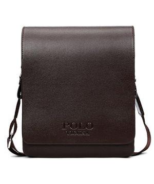Kožená biznis taška cez rameno POLO SMALL v hnedej farbe