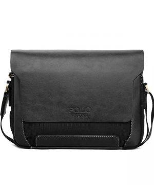 Kožená biznis taška cez rameno POLO v rôznych veľkostiach v čiernej farbe