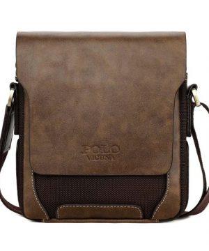 Kožená biznis taška cez rameno POLO v rôznych veľkostiach v hnedej farbe