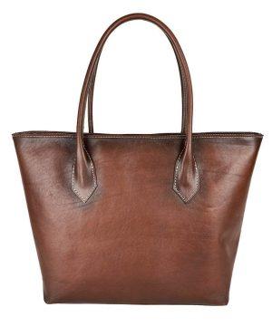 Kožená dámska kabelka SHOPPER ručne tamponovaná a tieňovaná v cigaro farbe