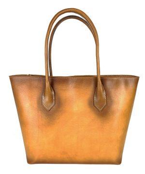 Kožená dámska kabelka SHOPPER ručne tamponovaná a tieňovaná v žltej farbe,