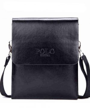 Kožená elegantná taška cez rameno POLO MEDIUM v čiernej farbe