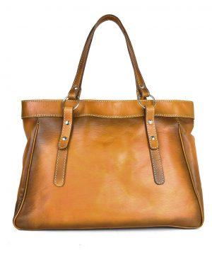 Kožená kabelka 8602 ručne tamponovaná a tieňovaná v tmavo žltej farbe