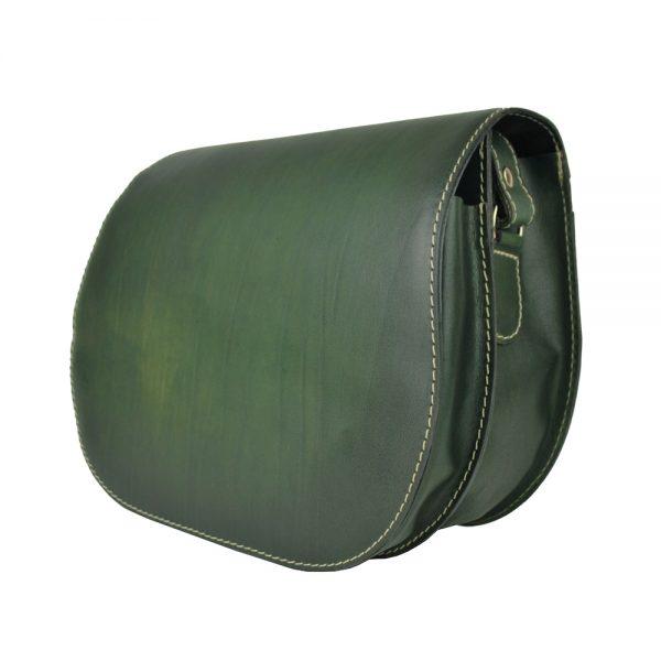 Kožená kabelka v tmavo zelenej farbe