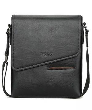 Kožená originálna taška cez plece POLO v čiernej farbe