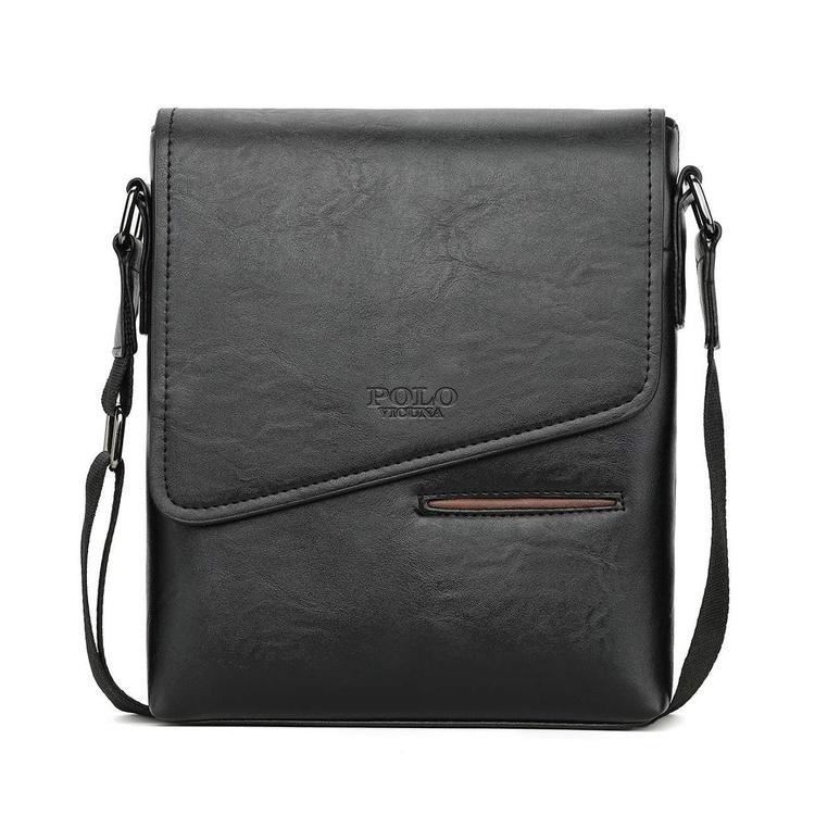 3c7f25c45 Kožená originálna taška cez plece POLO v čiernej farbe