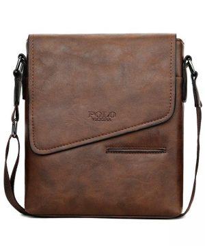 Kožená originálna taška cez plece POLO v hnedej farbe