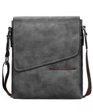 Kožená originálna taška cez plece POLO v šedej farbe