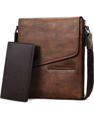 99f1ae205e Kožená originálna taška cez plece + peňaženka POLO v hnedej farbe ...