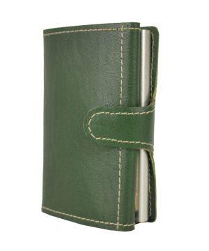 Kožená peňaženka SIMPLE s RFID patentovaný mechanizmom na karty v zelenej farbe