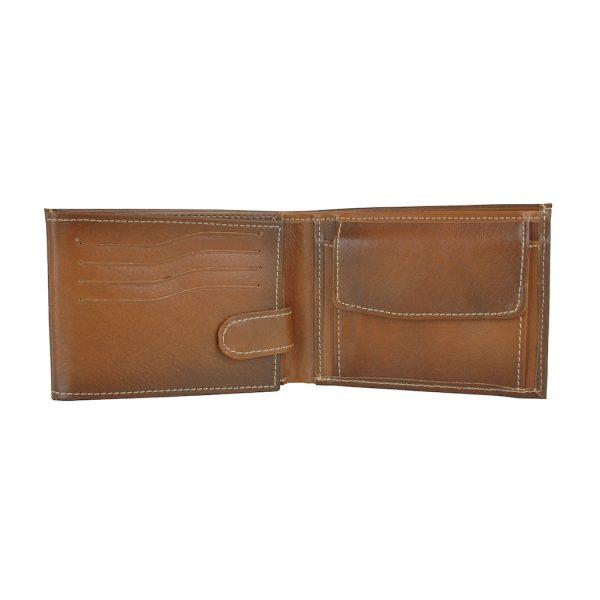 Kožená peňaženka č.8552 ručne tieňovaná v hnedej farbe
