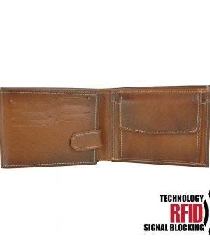 Kožená RFID peňaženka vo svetlo hnedej farbe č.8552, ručne tieňovaná