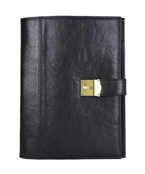 Kožená spisovka so zámkom na kľúč č.8344 v čiernej farbe