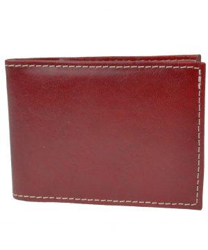 Kožené púzdro na karty a vizitky v bordovej farbe (2)