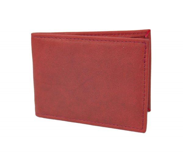 Kožené puzdro na platobné karty v červenej farbe (2)