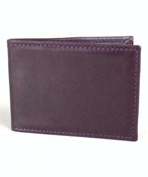 Kožené púzdro na karty a vizitky v tmavo fialovej farbe