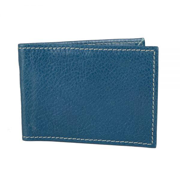Kožené púzdro na karty a vizitky v tmavo modrej farbe