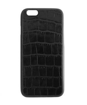 Kožený obal na iPhone 6:6s v štýle krokodíla v čiernej farbe