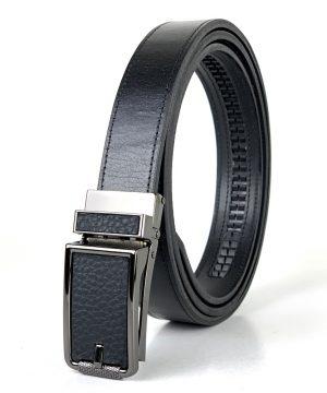 Kožený opasok s automatickým zapínaním BLACK LEATHER, 3cm, čierna farba