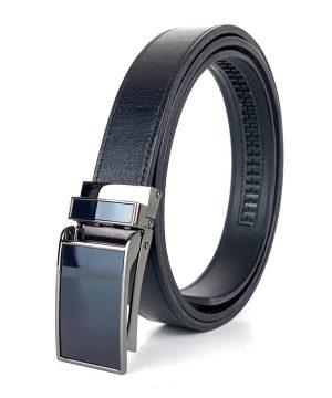 Kožený opasok s automatickým zapínaním GLOSSY BLACK, 3cm, čierna farba