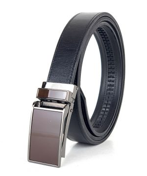 Kožený opasok s automatickým zapínaním GLOSSY BROWN, 3cm, čierna farba