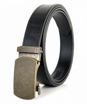 Kožený opasok s automatickým zapínaním OLD BRASS, 3cm, čierna farba