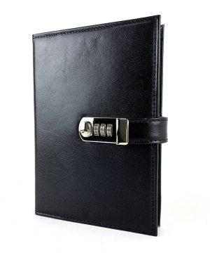 Kožený zápisník XXL z prírodnej kože s číselným zámkom v čiernej farbe