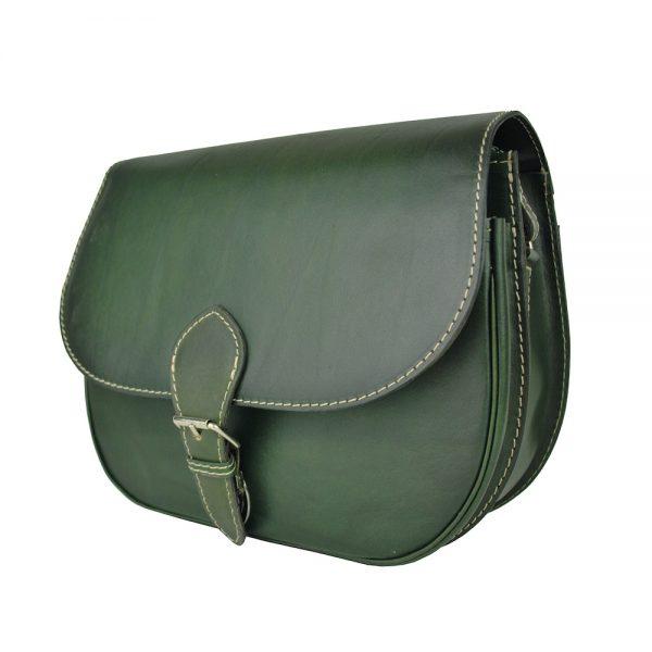 Kožená kabelka v tmavo zelenej farbe, ručne tieňovaná, uzatváranie - vyťahovací zámok + pracka