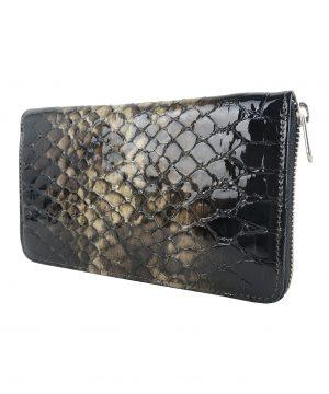 Kožená peňaženka so vzorom hadej kože č.8606 v tmavo hnedej farbe