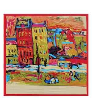 Luxusná šatka z umelého hodvábu, Van Gogh - Red house, Červená farba