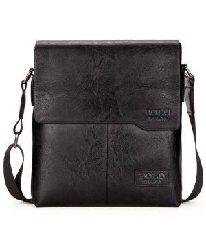 Luxusná taška POLO vyrobená z kože cez rameno v čiernej farbe
