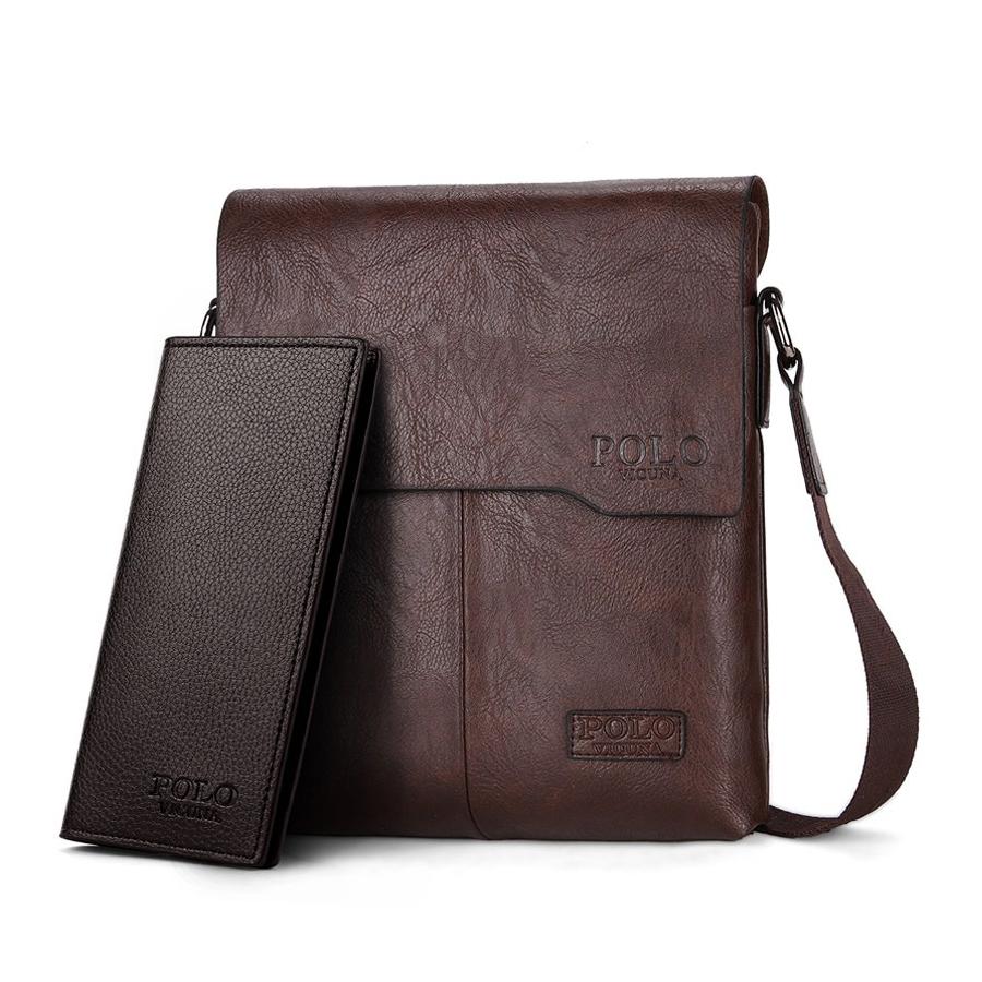b109c81467 Luxusná taška + peňaženka POLO vyrobená z kože cez rameno v hnedej farbe